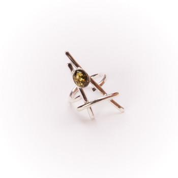 Bague argent avec ambre verte La Belle Parisienne, bijoux de créateur, vente en ligne, bijouterie