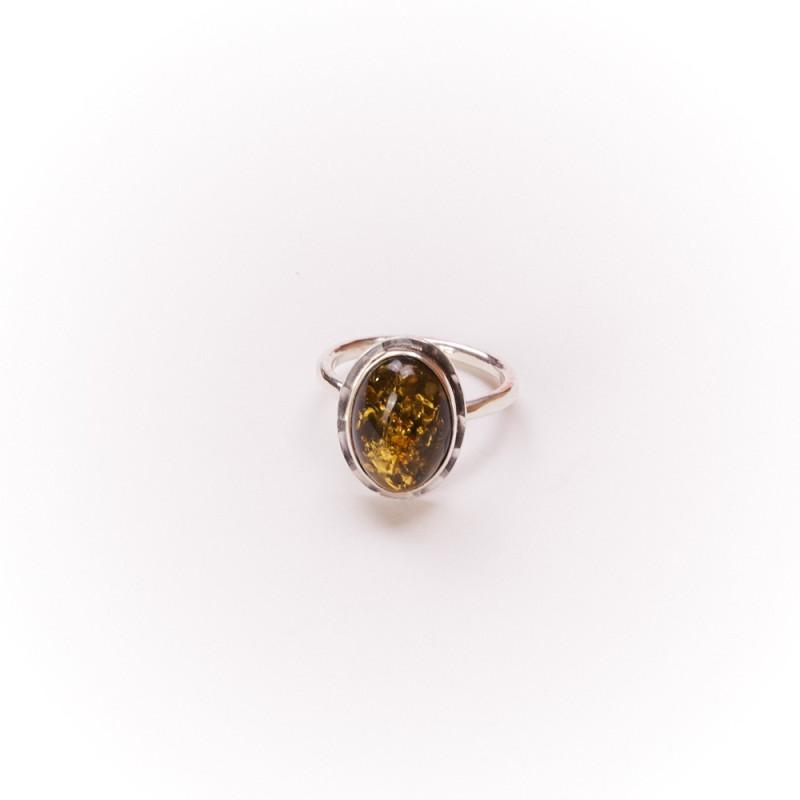 Bague argent avec ambre verte Glaïa, bijoux de créateur, vente en ligne, bijouterie