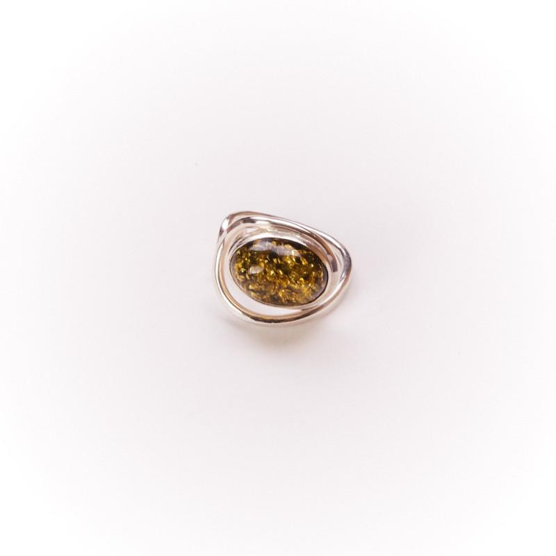 Bague argent avec ambre verte Voluptia, bijoux de créateur, vente en ligne, bijouterie
