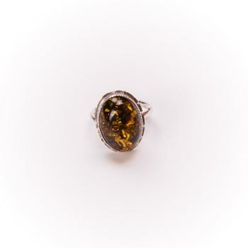 Bague argent avec ambre verte, bijoux de créateur, vente en ligne, bijouterie