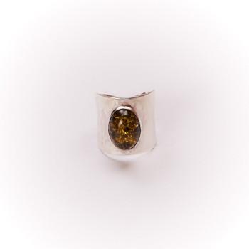 Bague argent avec ambre verte Volta, bijoux de créateur, vente en ligne, bijouterie