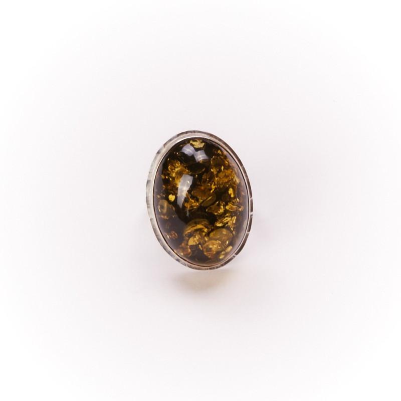 Bague argent avec ambre verte Bergia, bijoux de créateur, vente en ligne, bijouterie