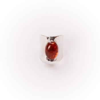 Bague argent Ambre Volta, bijoux de créateur, vente en ligne, bijouterie