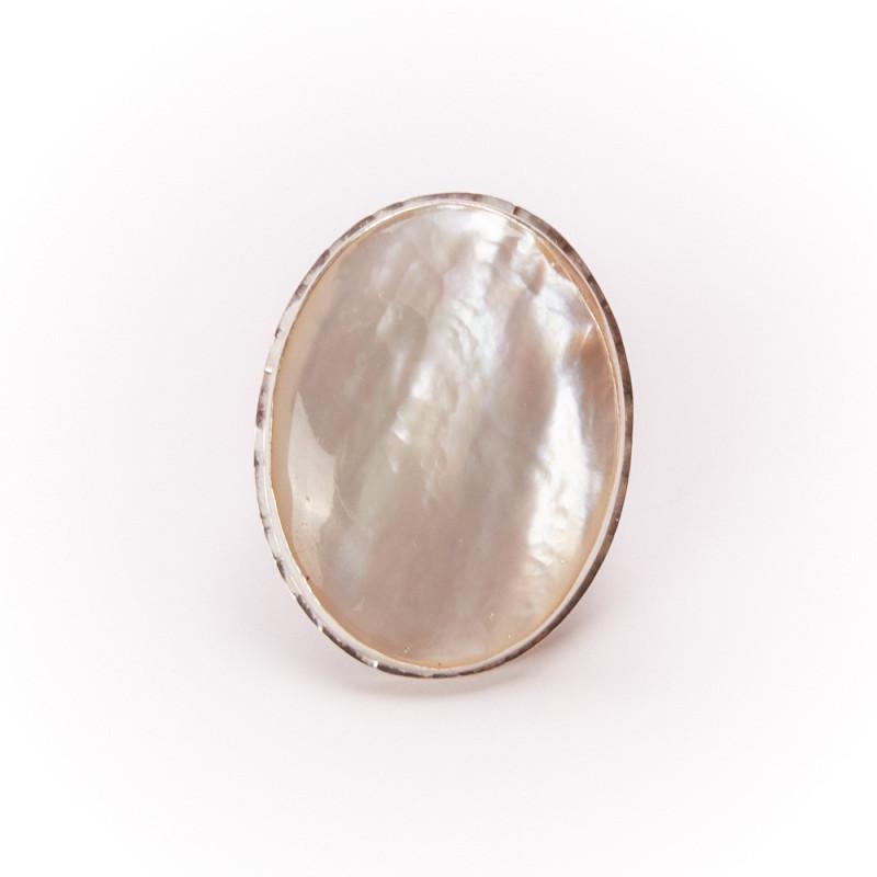 Bague argent nacre Grandioza, bijoux de créateur, vente en ligne, bijouterie, bijou artisanal