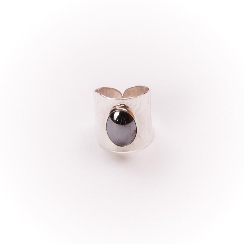 Bague argent hématite Volta, bijoux de créateur, vente en ligne, bijouterie, bijou artisanal