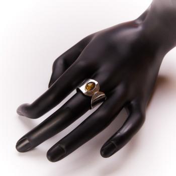Bague argent ambre verte, bijoux de créateur, vente en ligne, bijouterie, bijou artisanal