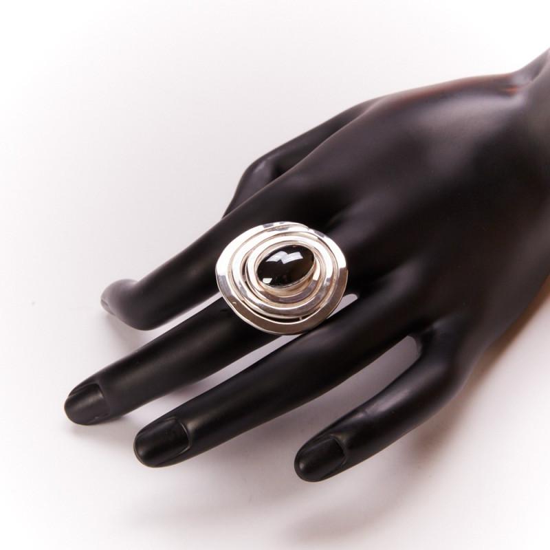 Bague argent hématite, bijoux de créateur, vente en ligne, bijouterie, bijou artisanal