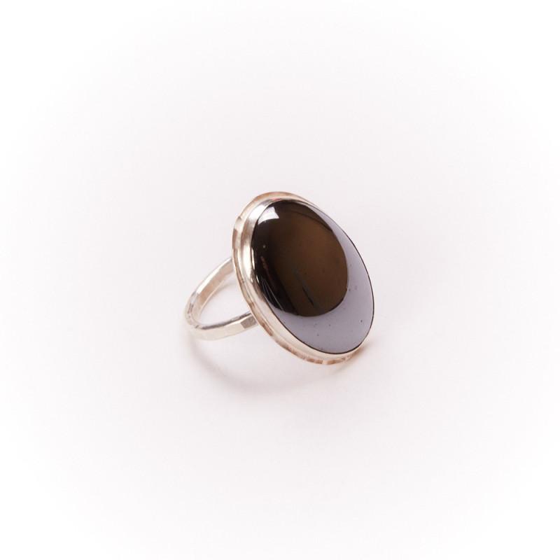 Bague argent hématite Felice, bijoux de créateur, vente en ligne, bijouterie, bijou artisanal