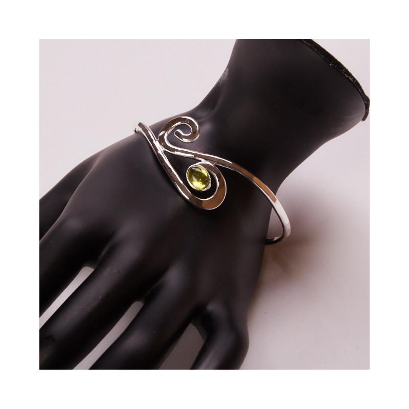 Bracelet argent avec péridot, bijoux de créateur, vente en ligne, bijouterie, bijou artisanal