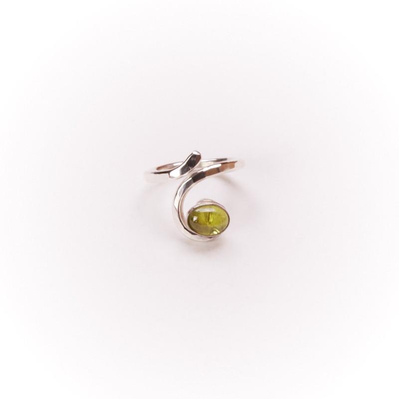 Bague argent Péridot Perce Neige, bijoux de créateur, vente en ligne, bijouterie