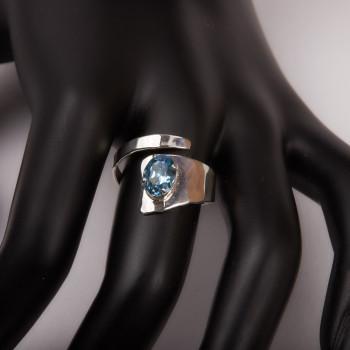 Bague argent Topaze bleue, bijoux de créateur, vente en ligne, bijouterie