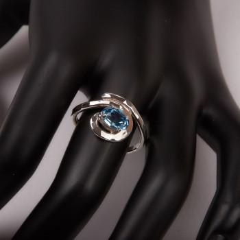 Bague argent Aigue marine Swarovski, bijoux de créateur, vente en ligne, bijouterie