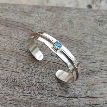 Bracelet argent Aigue marine Swarovski, bijoux de créateur, vente en ligne, bijouterie
