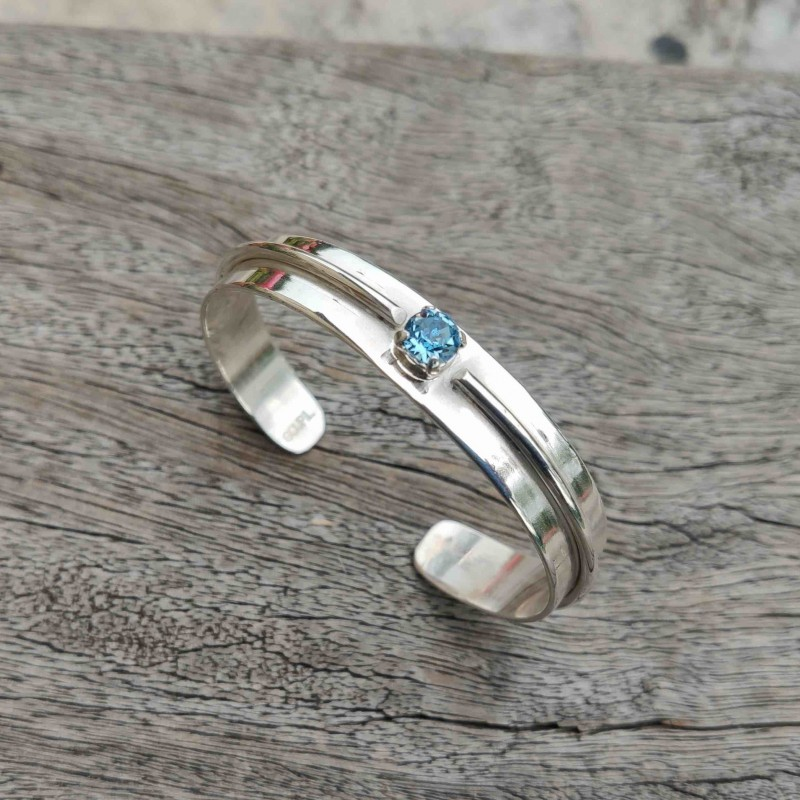 Bracelet argent Topaze bleue, bijoux de créateur, vente en ligne, bijouterie