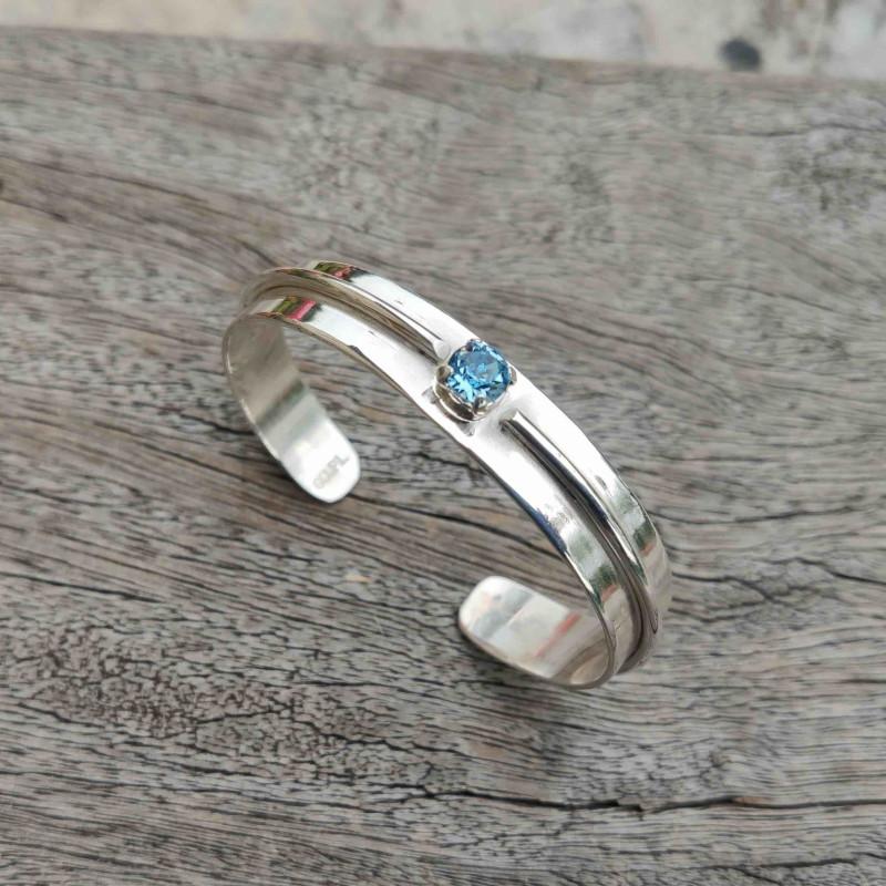 Bracelet argent Topaze bleue Esia, bijoux de créateur, vente en ligne, bijouterie
