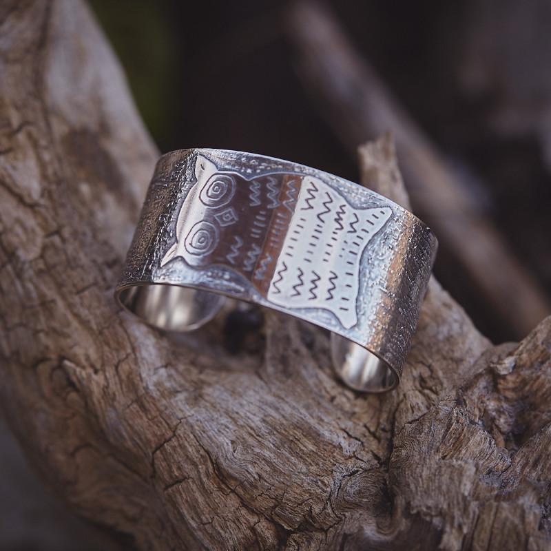 Bracelet Chouette, bracelet plaqué argent, bijoux de créateur, bijouterie en ligne