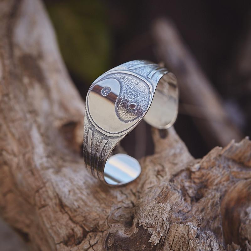 Bracelet yin et yang, bracelet plaqué argent, bijoux de créateur, bijouterie en ligne