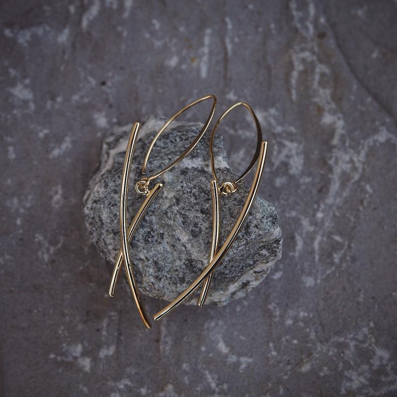 Boucles d'oreille Ligne pure plaqué or, bijoux de créateur, bijouterie en ligne