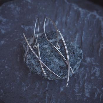 Boucles d'oreille Ligne pure en argent, bijoux de créateur, bijouterie en ligne