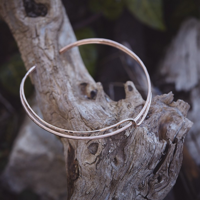 Collier plaqué or rose Double lien d'amour, bijoux de créateur, vente en ligne, bijouterie