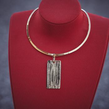 Collier plaqué or Strie, bijoux de créateur, vente en ligne, bijouterie
