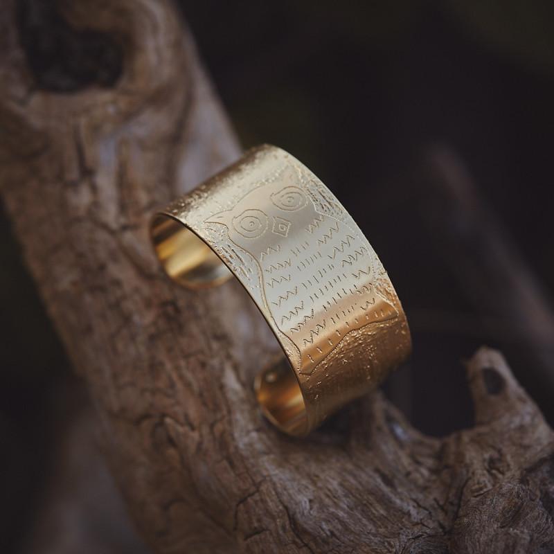 Bracelet plaqué or Chouette, bijoux de créateur, bijouterie en ligne