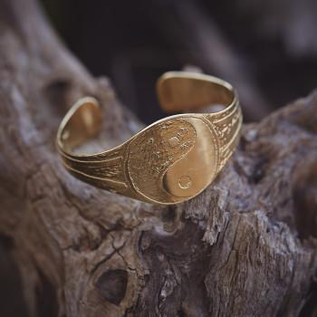 Bracelet yin et yang, bracelet plaqué or, bijoux de créateur, bijouterie en ligne