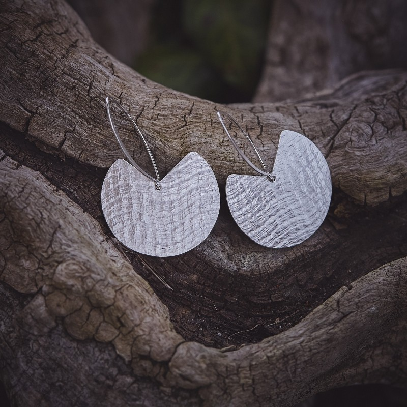 Boucles d'oreille argent Imprimé cuir, bijoux de créateur, bijouterie en ligne