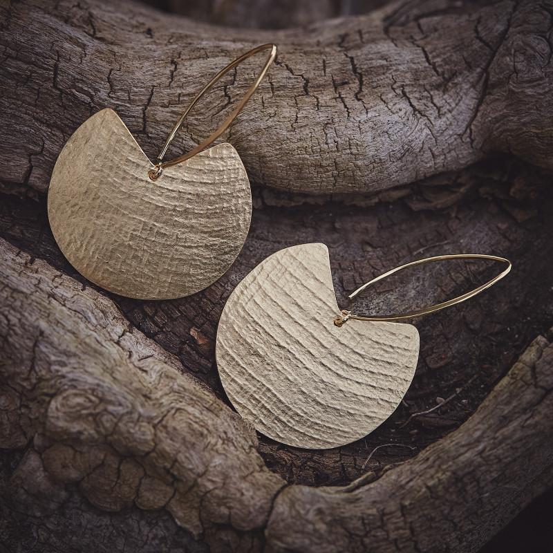 Boucles d'oreille plaqué or Imprimé cuir, bijoux de créateur, bijouterie en ligne