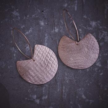 Boucles d'oreille Imprimé cuir, plaqué or rose, bijoux de créateur, bijouterie en ligne