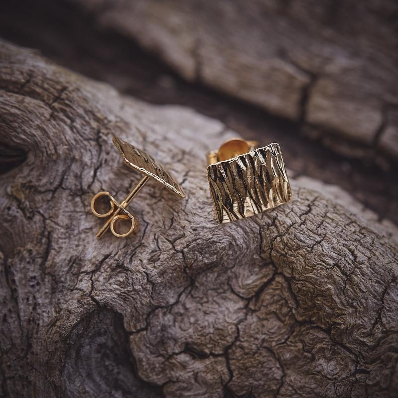 Boucles d'oreille plaqué or Martelé, bijoux de créateur, vente en ligne, bijou artisanal, bijou fabrication française