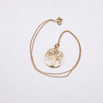 Collier plaqué or Arbre de vie, bijoux de créateur, vente en ligne, bijouterie