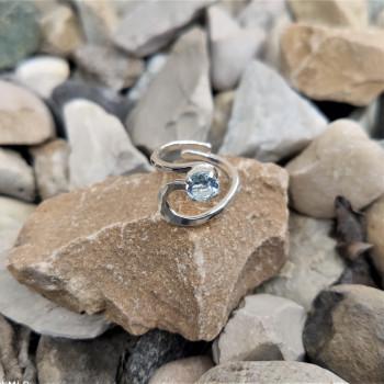 Bague argent Topaze bleue Venusia, bijoux de créateur, vente en ligne, bijouterie