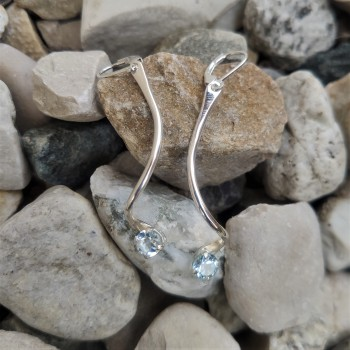 Boucles d'oreille argent Topaze bleue, bijoux de créateur, vente en ligne, bijouterie