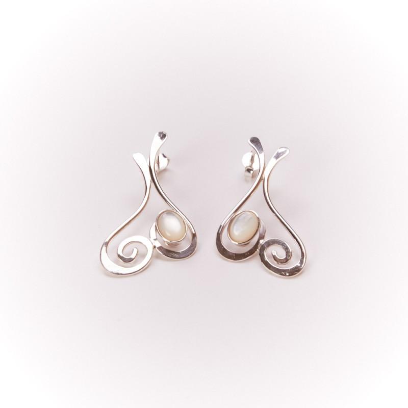 Boucles d'oreille argent nacre Edulcia, bijoux de créateur, bijouterie en ligne