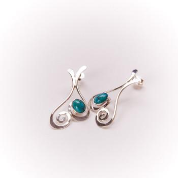 Boucles d'oreille en argent Edulcia avec turquoise, bijoux de créateur, bijouterie en ligne