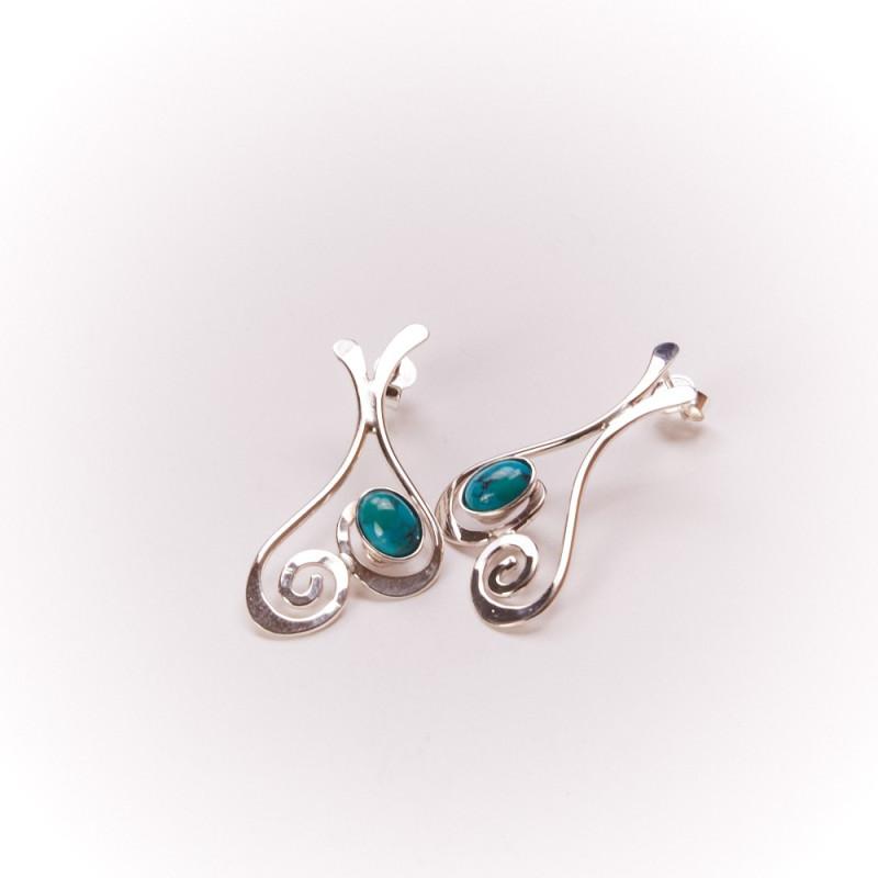 Boucles d'oreille argent turquoise Edulcia, bijoux de créateur, bijouterie en ligne