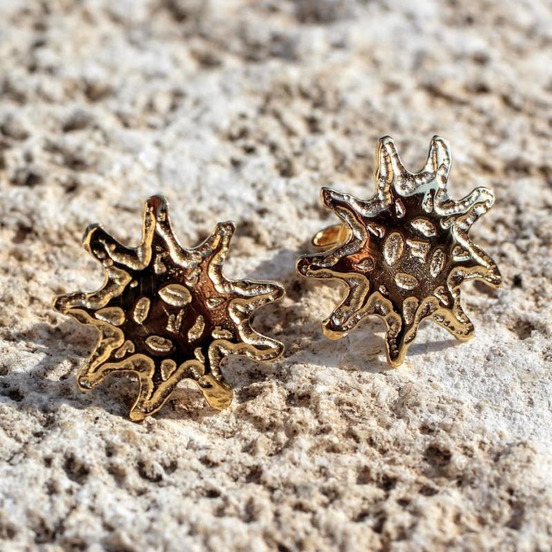 Boucles d'oreille plaqué or Soleil, bijoux de créateur, vente en ligne, bijou artisanal, bijou fabrication française