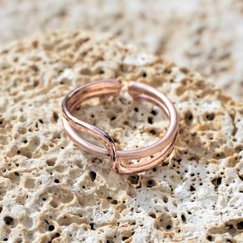 Bague plaqué or rose Double lien d'amour du bijoutier créateur Ludovic GOUPIL