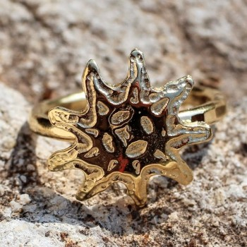 Bague plaqué or Soleil, bijoux du créateur Ludovic GOUPIL, vente en ligne, bijouterie