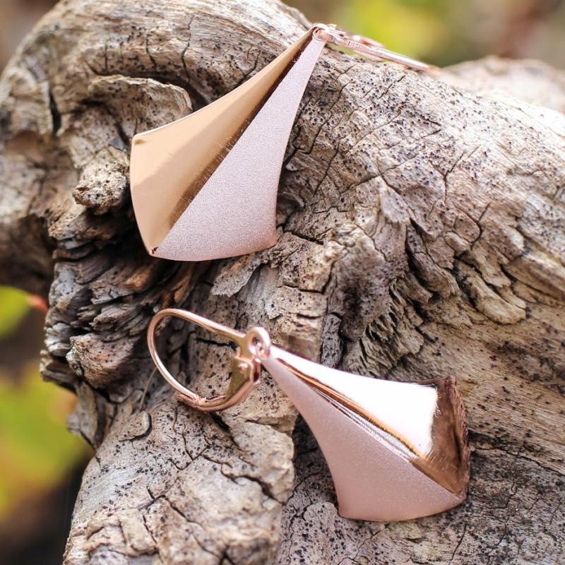 Boucles d'oreille plaqué or rose Floelia réalisées par le bijoutier Ludovic GOUPIL