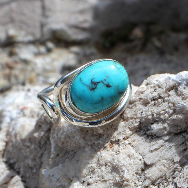 Bague argent Turquoise Voluptia, bijoux de créateur, vente en ligne, bijouterie