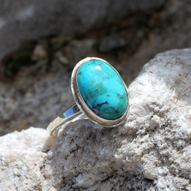 Bague argent Turquoise Glaïa, bijoux de créateur, vente en ligne, bijouterie