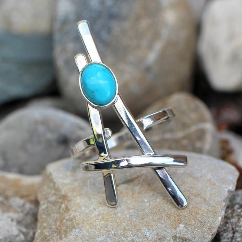Bague argent Turquoise La Belle Parisienne, bijoux de créateur, vente en ligne, bijouterie