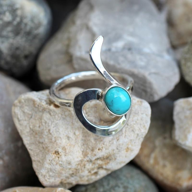 Bague argent Turquoise Lizae, bijoux de créateur, vente en ligne, bijouterie