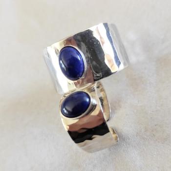 Bagues Duo argent avec un lapis lazuli