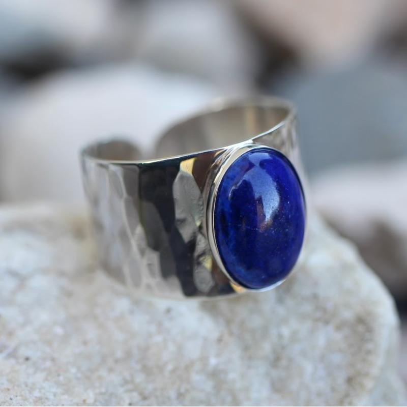 Bague Homme argent lapis lazuli Volta