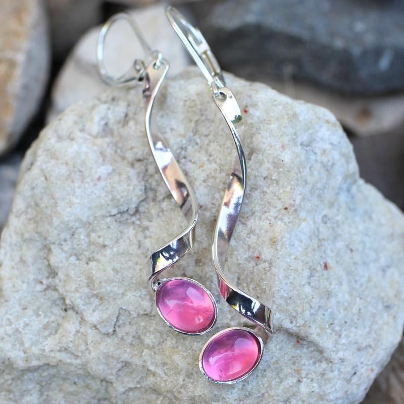 Boucles d'oreille Voluptia argent avec tourmaline rose