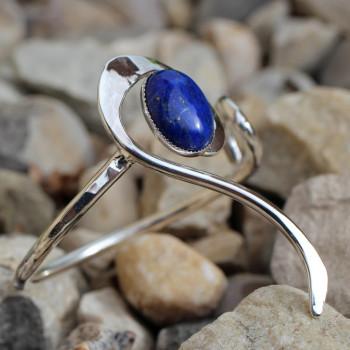 Bracelet argent lapis lazuli Lizae, bijoux de créateur, vente en ligne, bijou artisanal, bijouterie en ligne