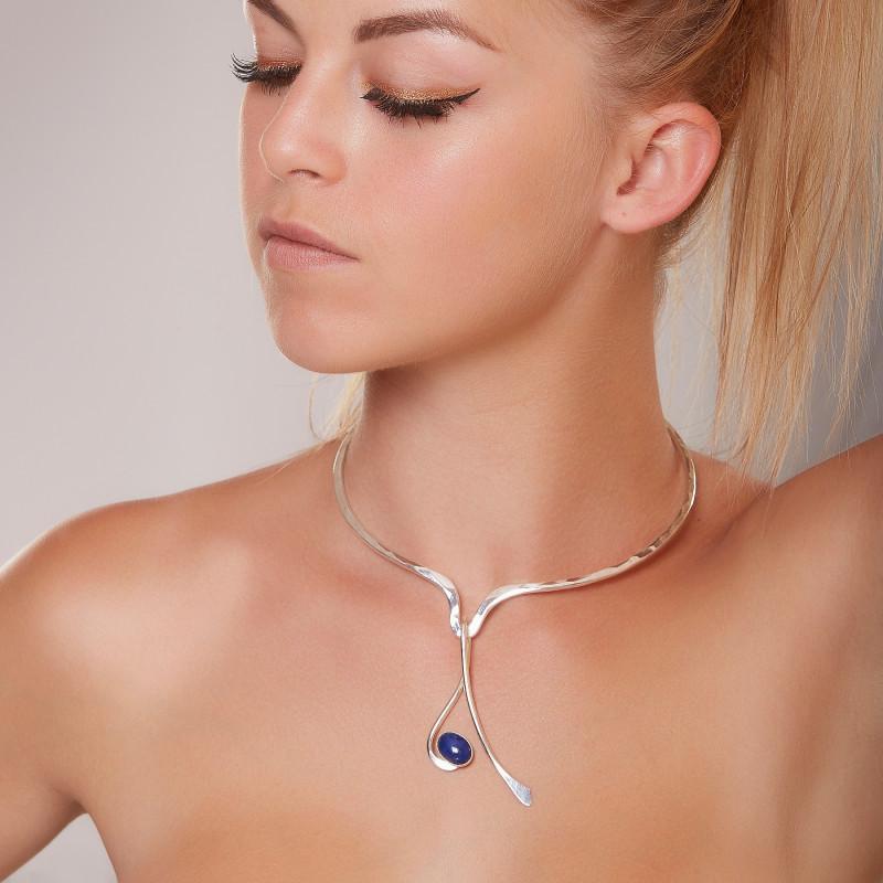 Collier argent Harmonia avec lapis lazuli, bijoux de créateur, vente en ligne, bijou artisanal, bijouterie en ligne